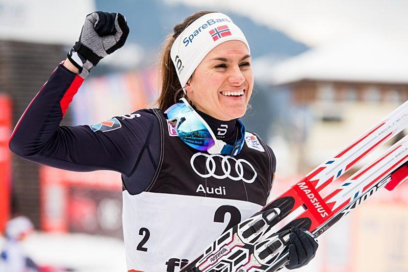 Heidi Weng vann idag och går en spännande match mot Ingvild Flugstad Östberg i morgon om totalsegern i Tour de Ski. FOTO: Jon Olav Nesvold/Bildbyrån.