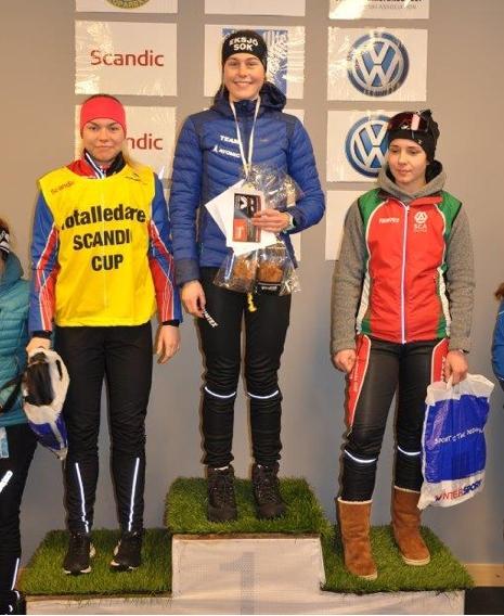 D 17-18-pallen: Moa Hansson, Hanna Abrahamsson och Olivia Alm. FOTO: Östersunds SK.
