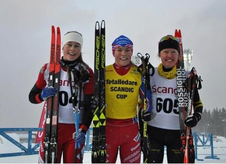 Topp tre i D 17-18: Hanna Abrahamnsson, Moa Hansson och Tilde Östberg. FOTO: Östersunds SK.