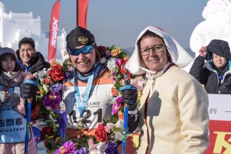 Marina Chernousova vann damklassen med två minuters marginal. FOTO: Vasaloppet China.
