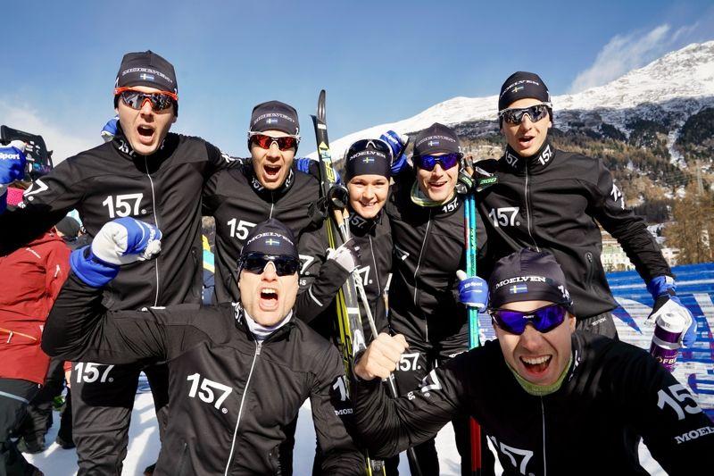 Lager 157 Ski Team är redo för fortsättningen av Visma Ski Classics som ledare av lagtävlingen. Britta Johansson Norgren har också ledarvästen, bergsvästen och sprintvästen. FOTO: Magnus Östh.