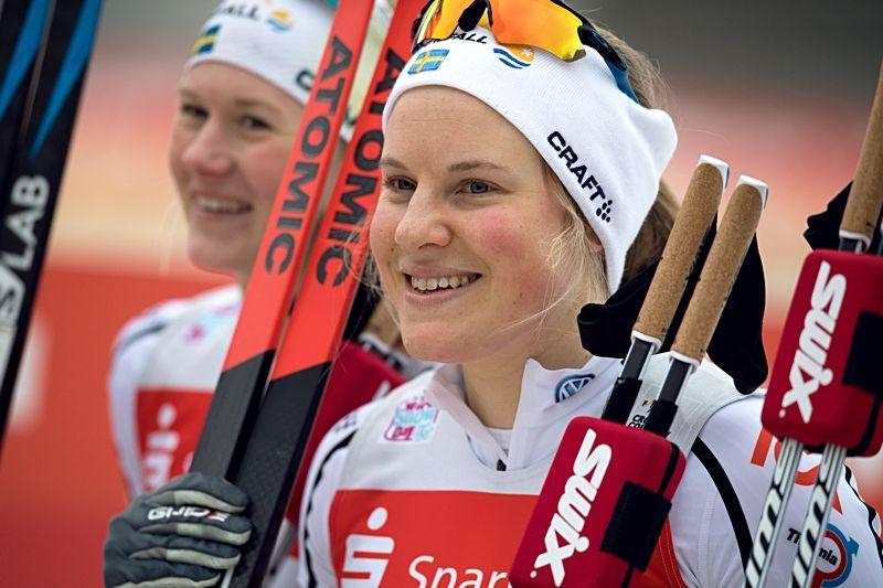 Hanna Falk är tillbaka i världscupen. Bilden är från 2018 när Hanna och Maja Dahlqvist tog en dubbel i Dresden. FOTO: Vegard Wivestad Grått/Bildbyrån.