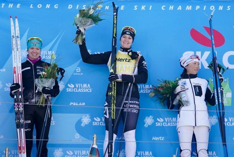 Sara Lindborg blev tvåa, Britta Johansson Norgren etta och Masako Ishida trea på Kaiser Maximilian Lauf. FOTO: Magnus Östh.