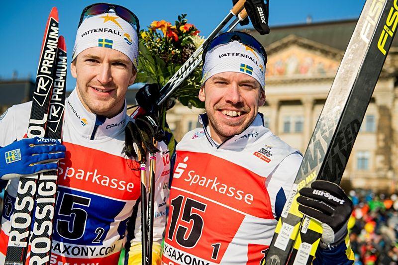 Teodor Peterson och Emil Jönsson sken ikapp med solen efter andraplatsen i Dresden. FOTO: Vegard Wivestad Grött/Bildbyrån.