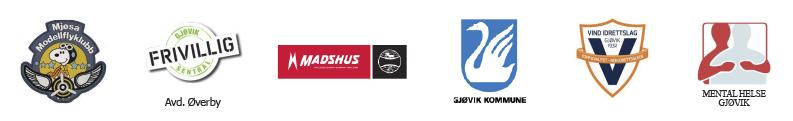 Logorekke med samarbeidende aktører på Ski for alle-arrangement på Gjøvik