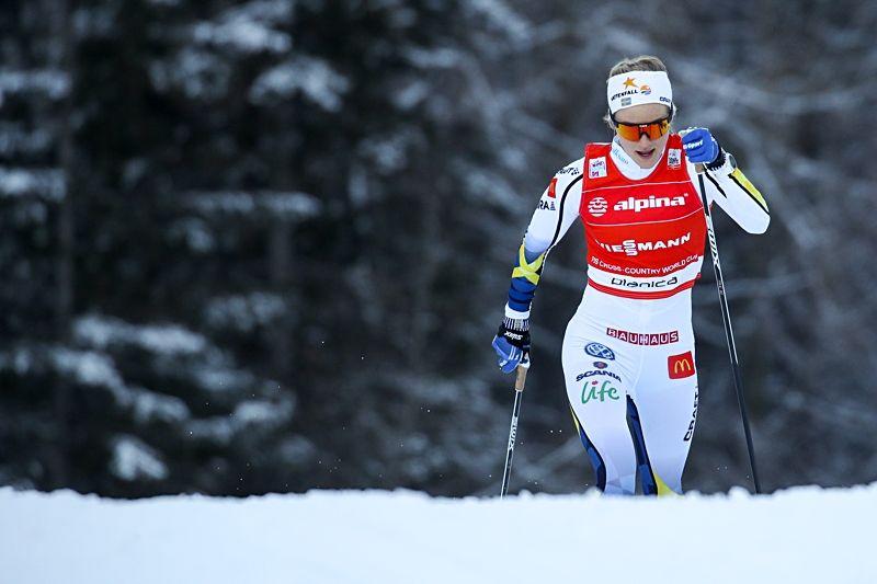 Stina Nilsson vann den klassiska sprinten i Planicia efter suverän åkning. Här är Stina i prologen där hon hade andra tid. FOTO: Matic Plansek/Gepa Pictures.