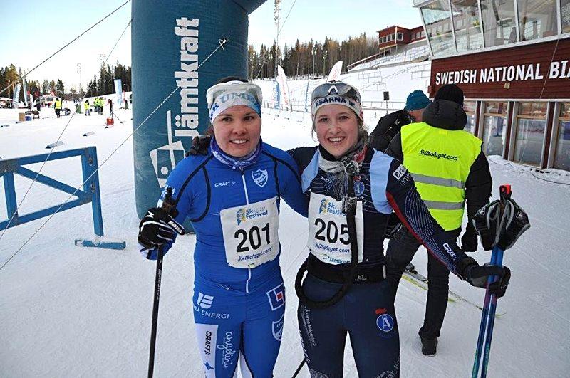 Sofie Elebro slutade tvåa och Frida Hallqvist vann Östersund Ski Marathon under lördagen. FOTO: Arrangören.