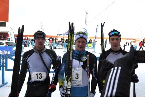 Håkan Emilsson, tvåa, Nils Persson segrare och Max Novak, trea. FOTO: Arrangören.