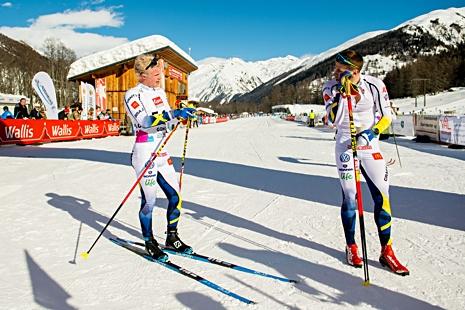 Filip Danielsson och Anton Persson pustar ut efter bra insatser på 15 kilometer vid U23-VM. FOTO: Vegard Wivestad Grött/Bildbyrån.