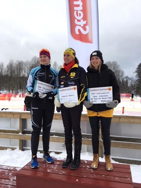 Topp tre i damklassen. Från vänster: Marika Sundin, tvåa, Catharina Ramhult, etta och Sara Karlsson. FOTO: Arrangören.