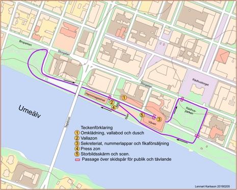 Så här går sprintbanan i centrala Umeå.