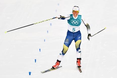 Med några få meter kvar till mållinjen och OS-guldet för Kalla. FOTO: Petter Arvidsson/Bildbyrån.