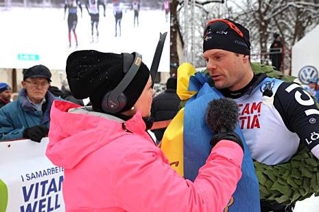 Jimmie Johnsson tog sin tredje seger i Engelbrektsloppet. De tidigare segrarna kom redan 2009 och 2011. FOTO: Samira Jonsson Orfanidis/Sveriges Radio.