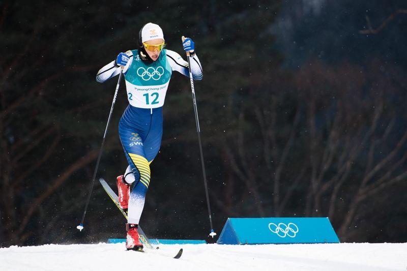 Stina Nilsson var snabbast av alla vid sprintprologen i  i PyeongChang. FOTO: Carl Sandin/Bildbyrån.
