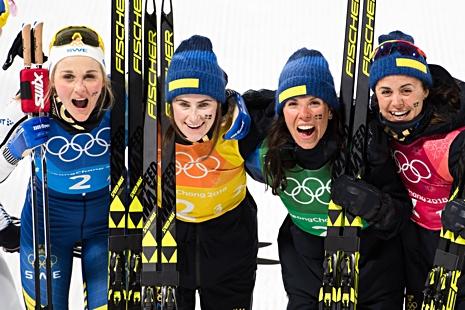 De svenska silvertjejerna: Stina, Ebba, Charlotte och Anna. FOTO: Joel Marklund/Bildbyrån.