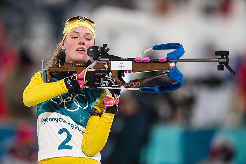 Hanna Öberg tog en fin femteplats på OS-skidskyttets masstart. FOTO: Jon Olav Nesvold/Bildbyrån.