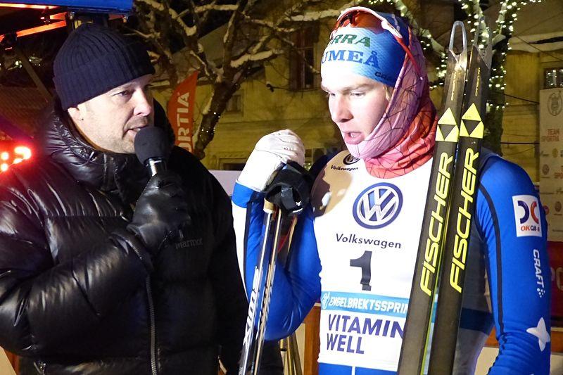 Marcus Grate vann Umeå Stadssprint. Andra sprintsegern på en vecka. Bilden är från Grates seger vid Engelbrektssprinten förra helgen. FOTO: Johan Trygg/Längd.se.