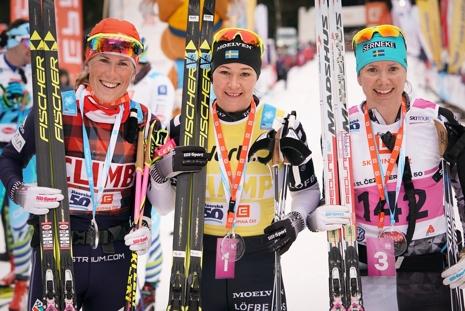 Katerina Smutna, tvåa, Britta Johansson Norgren, etta och Sara Lindborg, trea. FOTO: Magnus Östh.