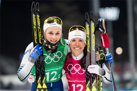 Silverduon Stina Nilsson och Charlotte Kalla. FOTO: Carl Sandin/Bildbyrån.