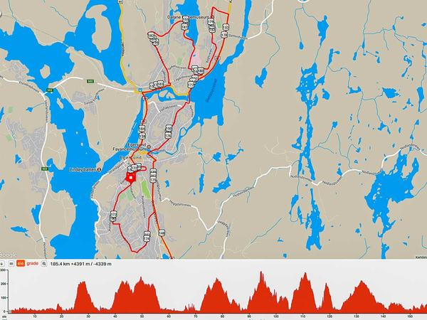 Løypekart for Tour des Fjords