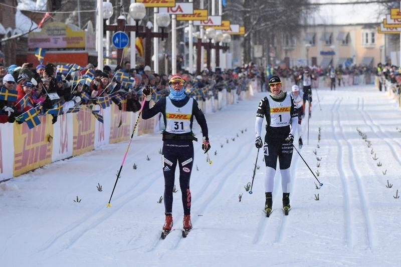 Katerina Smutná passerade Britta Johansson Norgren strax före mållinjen och vann 30:e Tjejvasan. FOTO: Vasaloppet.