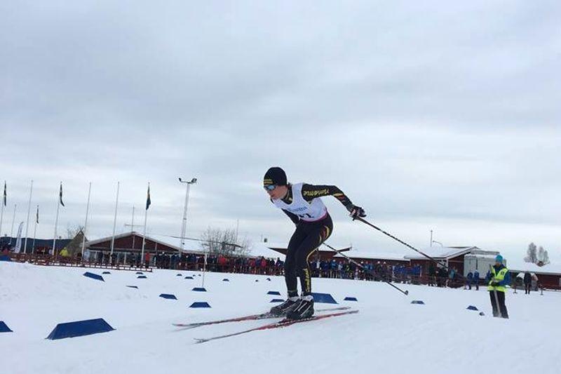Hjalmar Berg från Sunne SLF tog hem tekniksprinten vid Folksam cup-finalen i Torsby. FOTO: Maja Westh.