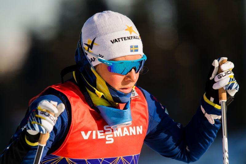Hanna Falk var snabbast i sprintprologen i Lahtis på lördagsförmiddagen. FOTO: Fredrik Varfjell/Bildbyrån.