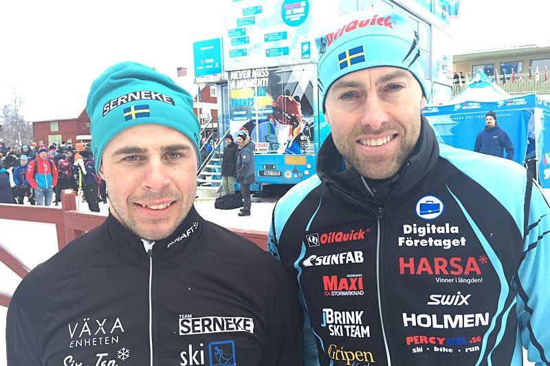 Bob Impola och Jörgen Brink. Dagens två snabbaste svenskar i Vasaloppet. FOTO: Johan Trygg/Längd.se.