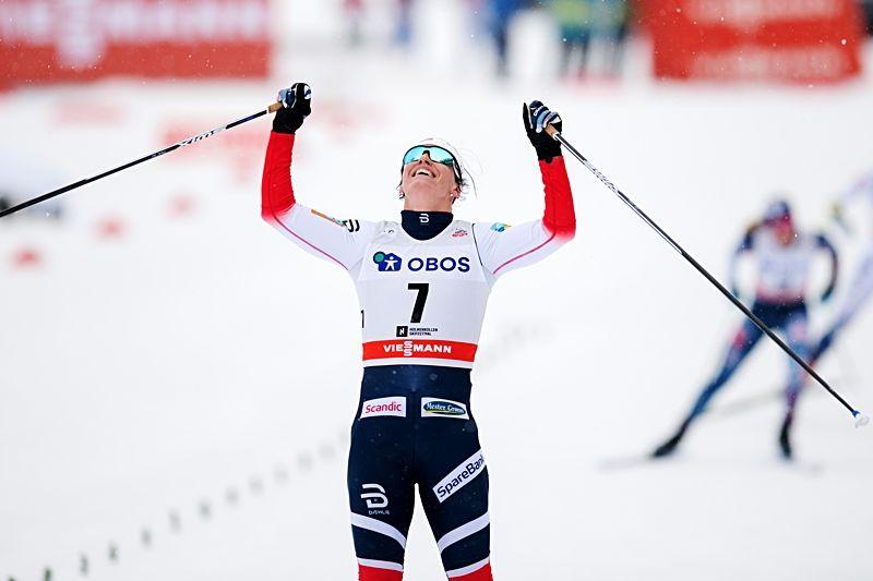 Marit Björgen var omutlig på slutet av tremilen och tog sin sjunde seger i Holmenkollen. FOTO: Jon Olav Nesvold/Bildbyrån.
