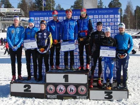 Dalarna vann på herrsidan med tvåan Småland till vänster och trean Västerbotten till höger. FOTO: Arrangören.