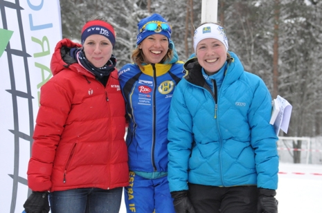 Dampallen i ReservRallarn: Från vänster, tvåan Erika Karlsson, Nybros Skidklubb, ettan Johanna Sundström, Hestra IF och trean Kristin Barkman, IF Hallby SOK. FOTO: Rallarloppet.