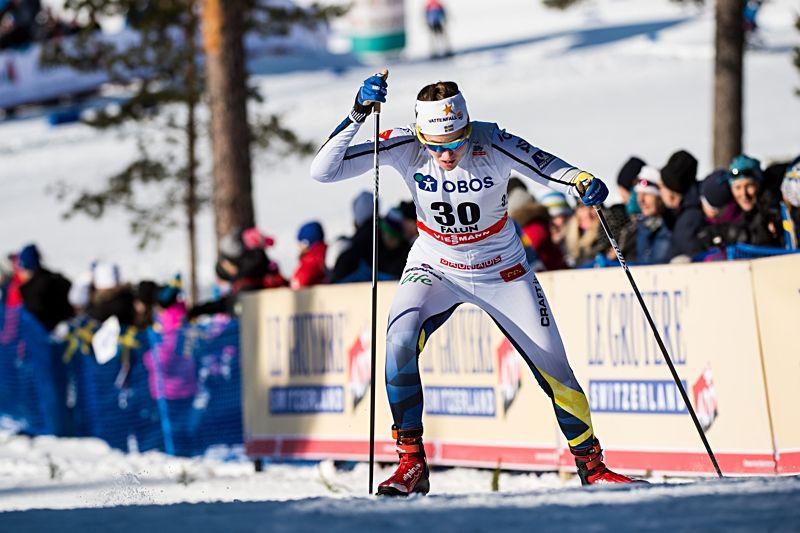 Anna Dyvik var en av 16 svenska åkare som klarade sprintkvalet i Falun på fredagsförmiddagen. FOTO: Simon Hastegård/Bildbyrån.