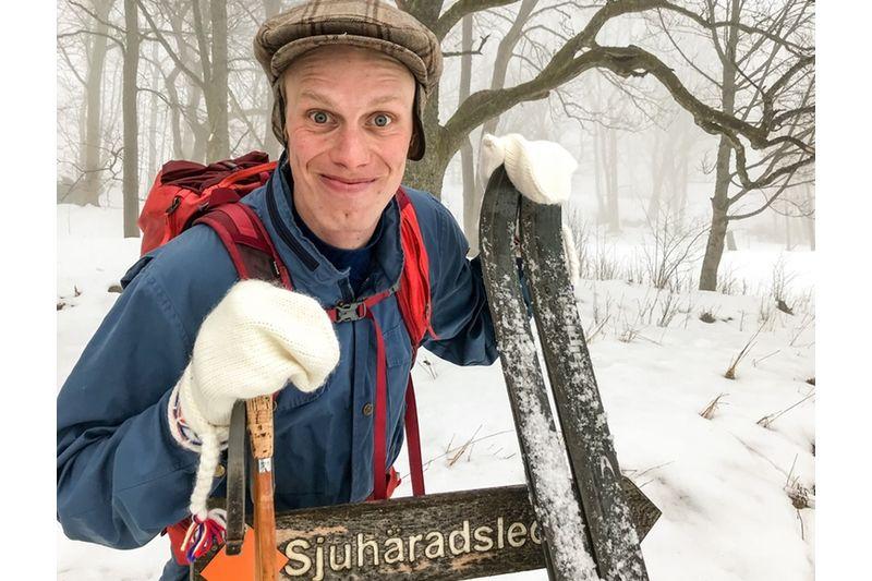 Erik Wickström åkte hela Sjuhäradsledens 44 kilometer med turskidor.