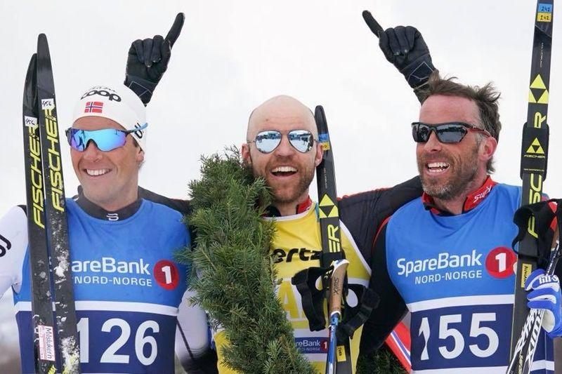Det blev en norsk trippel på Reistadlöpet. Från vänster: Chris Andre Jespersen, tvåa, Tord Asle Gjerdalen, etta och Anders Aukland, trea. Daniel Rickardsson var närmast som fjärde man. FOTO: Magnus Östh.