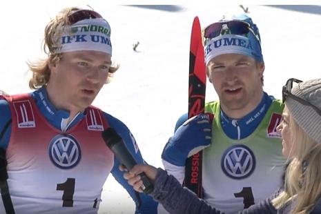 Marcus Grate och Teodor Peterson försvarade IFK Umeås guld från i fjol. FOTO: Från arrangörens webbsändning.