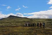 Bilde av en gruppe turgåere i fjellet