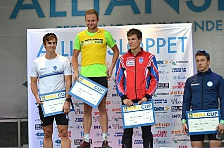 Toppen i H 21 på STS Roll Cup 2017: Victor Gustafsson (2:a), Robin Norum (1:a), Tom Fahlén (3:a), Anton Persson (5:a). FOTO: Johan Trygg/Längd.se.