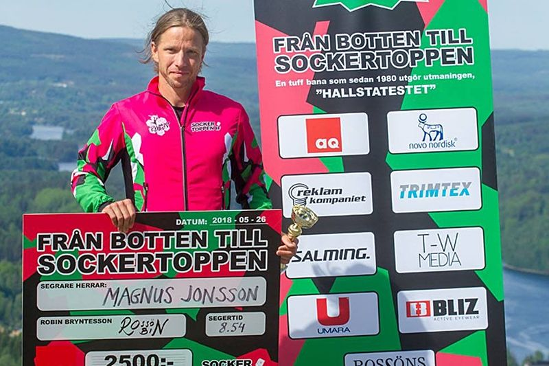 Magnus Jonsson var snabbast uppför Hallstaberget i premiär av Från Botten till Sockertoppen. FOTO: Lasse Näsström.
