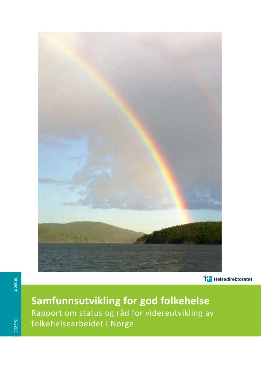 Omslagsbilde til rapporten Samfunnsutvikling for god folkehelse