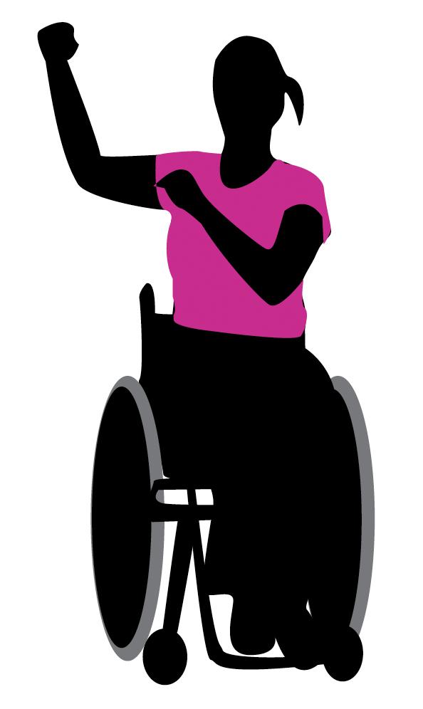 Illustrasjon som viser person i rullestol som trener