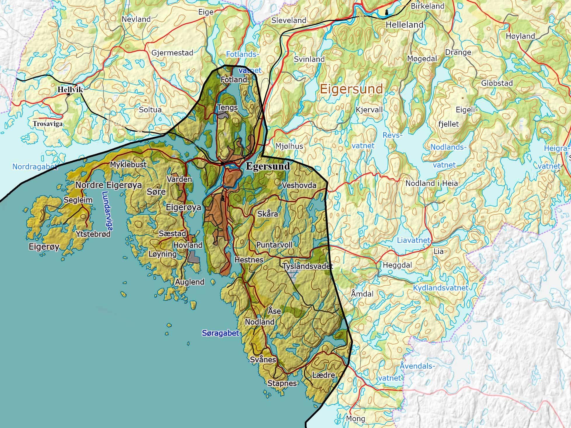 Kart over området til Egersund vannverk