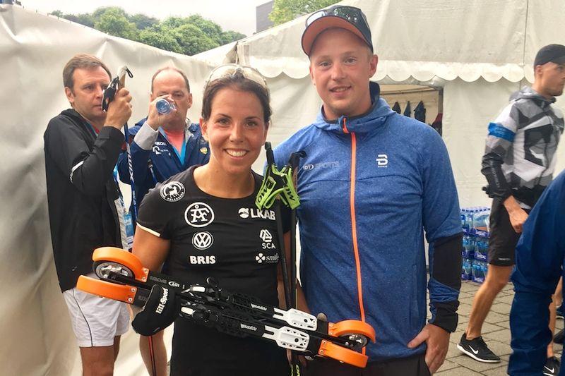 Charlotte Kalla och det svenska skidlandslaget har ingått ett tvåårigt avtal med Morten Iversbakken och den norska rullskidtillverkaren IDT. FOTO: IDT Solutions.