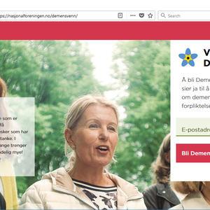 Skjermbilde av nettsiden som verver demensvenn