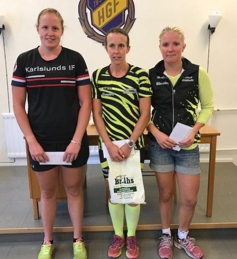 Topp tre i damklassen. Olivia Hansson (2:a), Jenni Ehn Gårdhage (1:a) och Charlotte Andersson (3:a). FOTO: Hägersta GF.