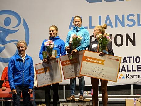 Dampallen med från vänster: Linn Sömskar, tvåa, Lotta Udnes Weng, etta och Silje Öyre Slind, trea. FOTO: Johan Trygg/Längd.se.