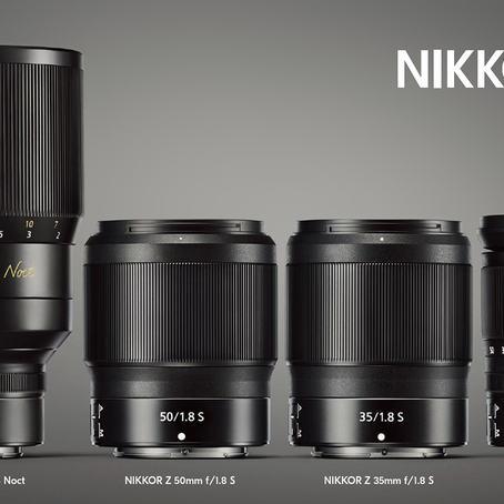 Nikkor Z-objektivene per august 2018. Den gedigne Nikkor Z Noct 58mm F0,95 som blir levert i 2019, og de tre objektivene som er klare i tiden september-november. (Fra Nikons Nikkor Z-brosjyre)