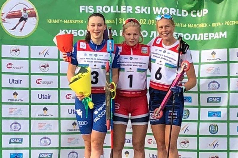 Hanna Abrahamsson blev trea både på lördagens sprint och söndagens masstart vid rullskidvärldscupen i Ryssland. FOTO: Svenska skidförbundet.
