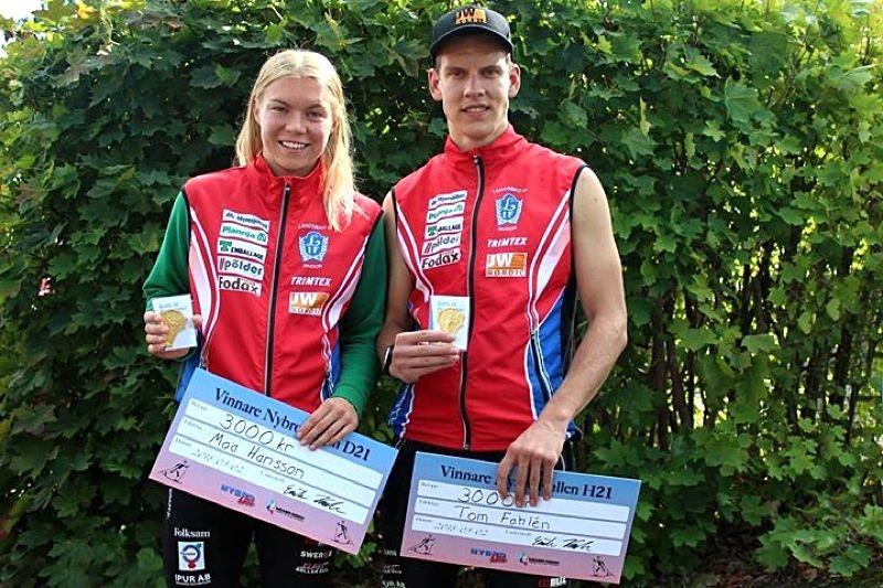 Landsbro IF-duon Moa Hansson och Tom Fahlén grejade båda guld på rullskid-SM:s distanslopp i Nybro på söndagen. FOTO:Sport Images Sweden.