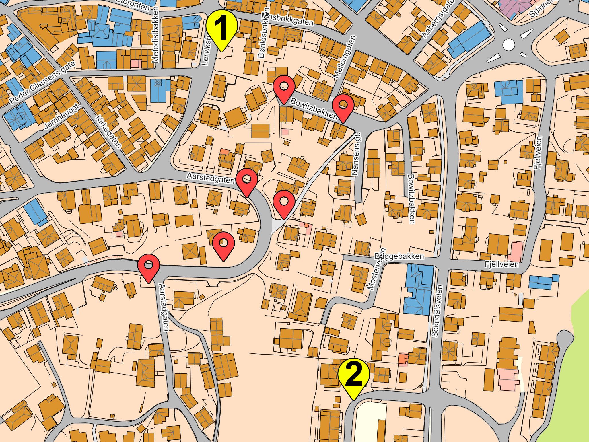 Kart over tenkt parkeringshall