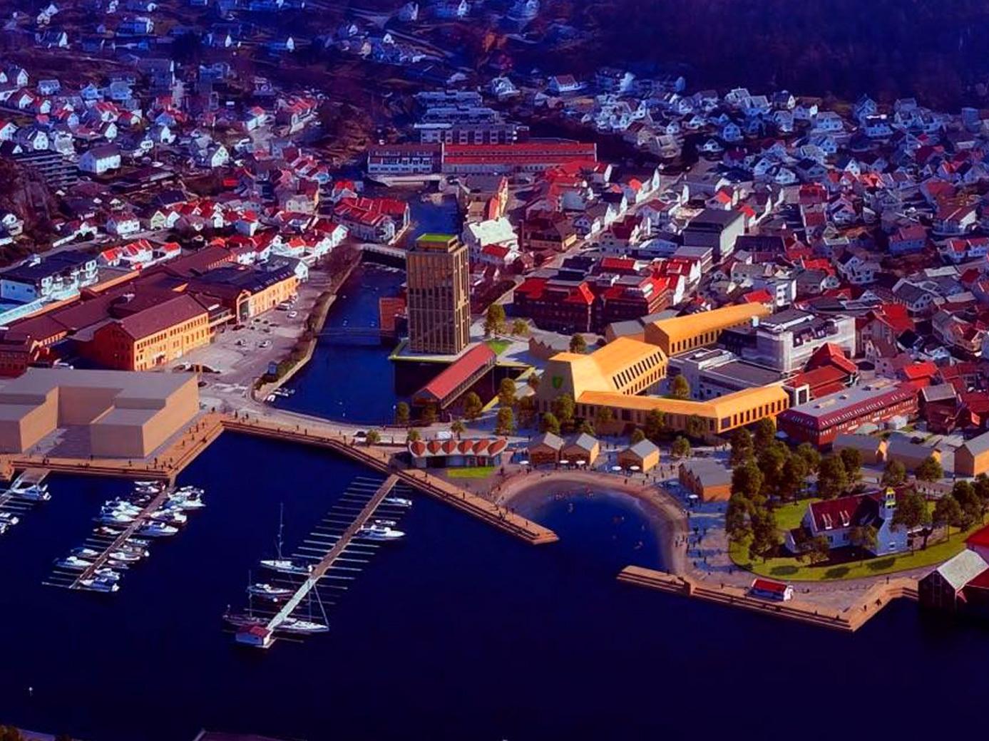 Mulighetstudie av Egersund. Bilde natt